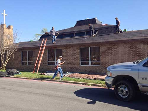Roofer Working in Fort Worth